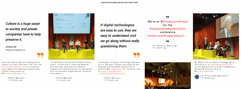 Screenshot of Prada's conference social wall. They boost audience engagement with a social wall.