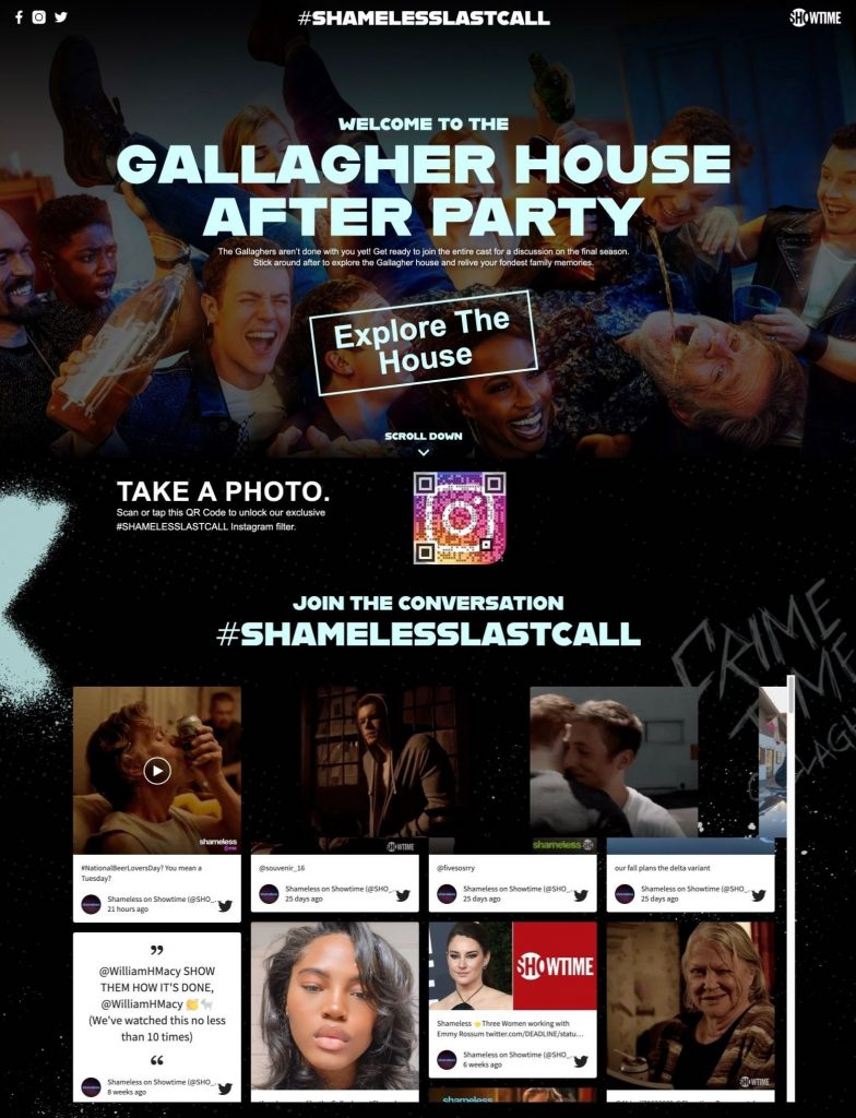 Screenshot of the official microsite for the season finale of Shameless. A good event example where a social wall ensures audience engagement.
