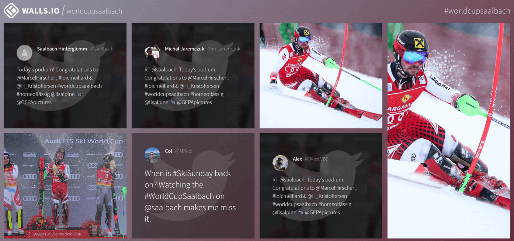 Screenshot of the social wall from Ski World Cup Saalbach. The wall displays photos from people in a skiing, a few Twitter messages as well as a photo of the three winners.