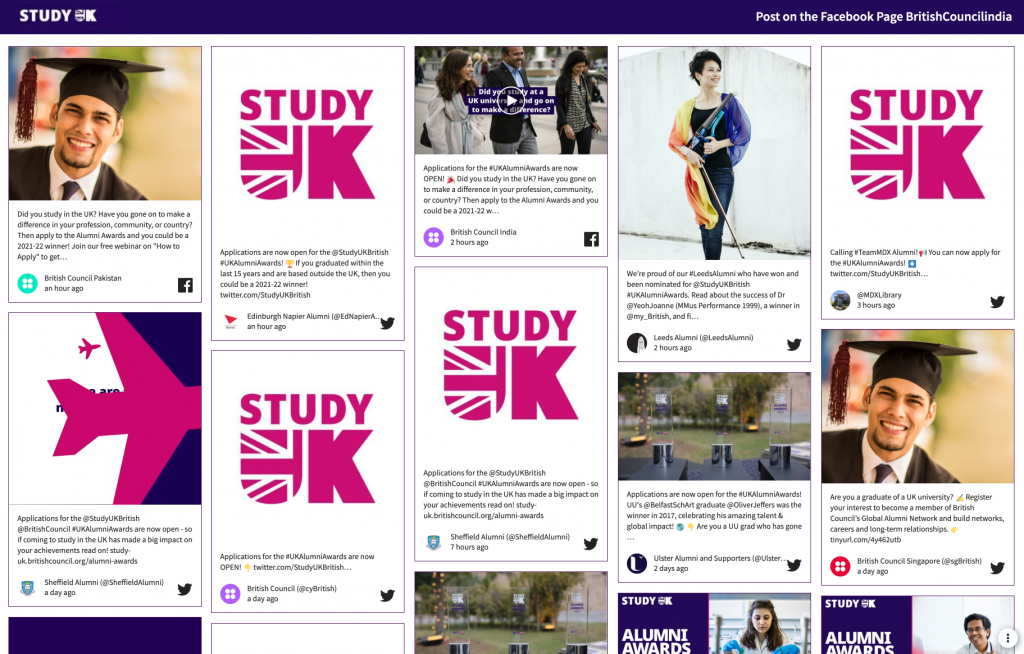Screenshot of Study Uk's event social wall, showing photos of alumni that received awards.