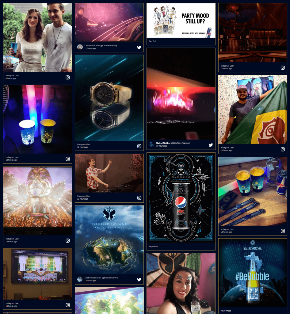 Screenshot of the #Tomorrowland2020 social wall which shows a bunch of photo posts by attendees. (audience engagement)