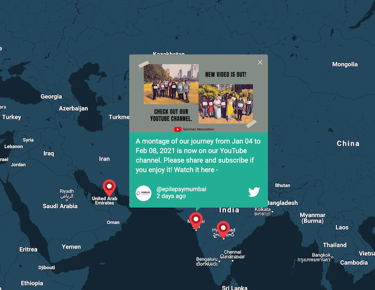 A tweet on an interactive map inviting viewers to watch a YouTube video about a 50 Million Steps journey.