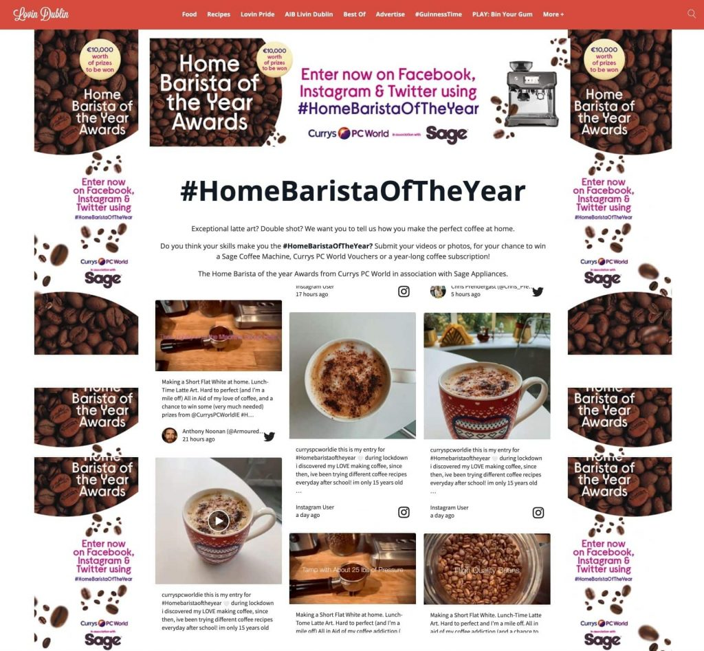 Screenshot of a social wall from Home Barista of the Year competition. showing photos of latte art and regular coffee cups.