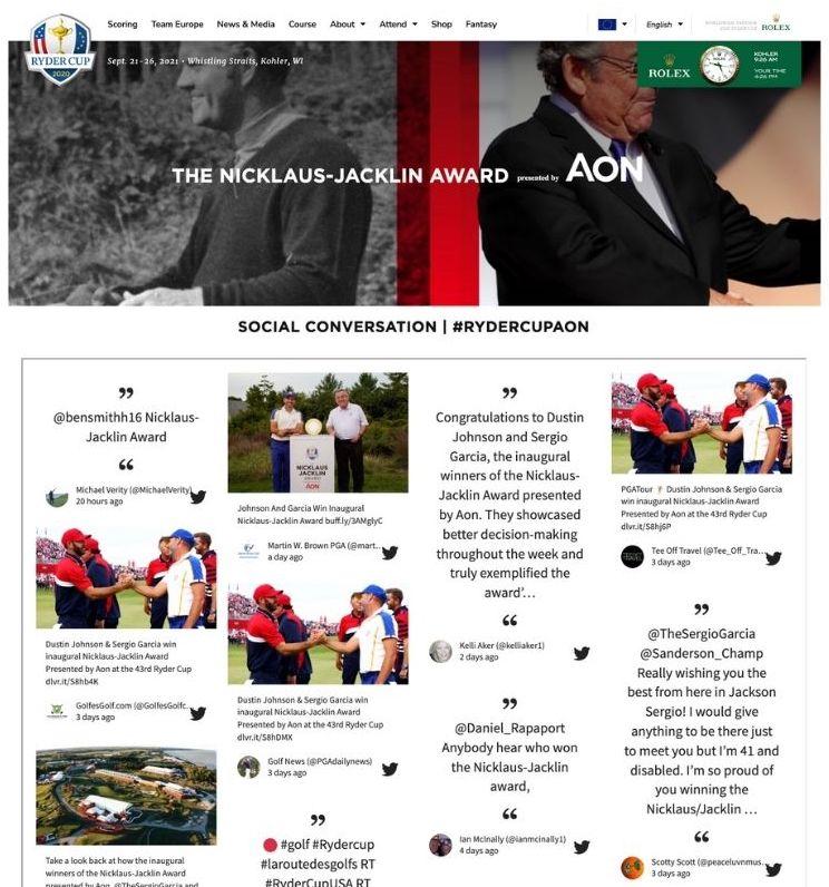 Screenshot of social wall from the Nicklaus–Jacklin Award.