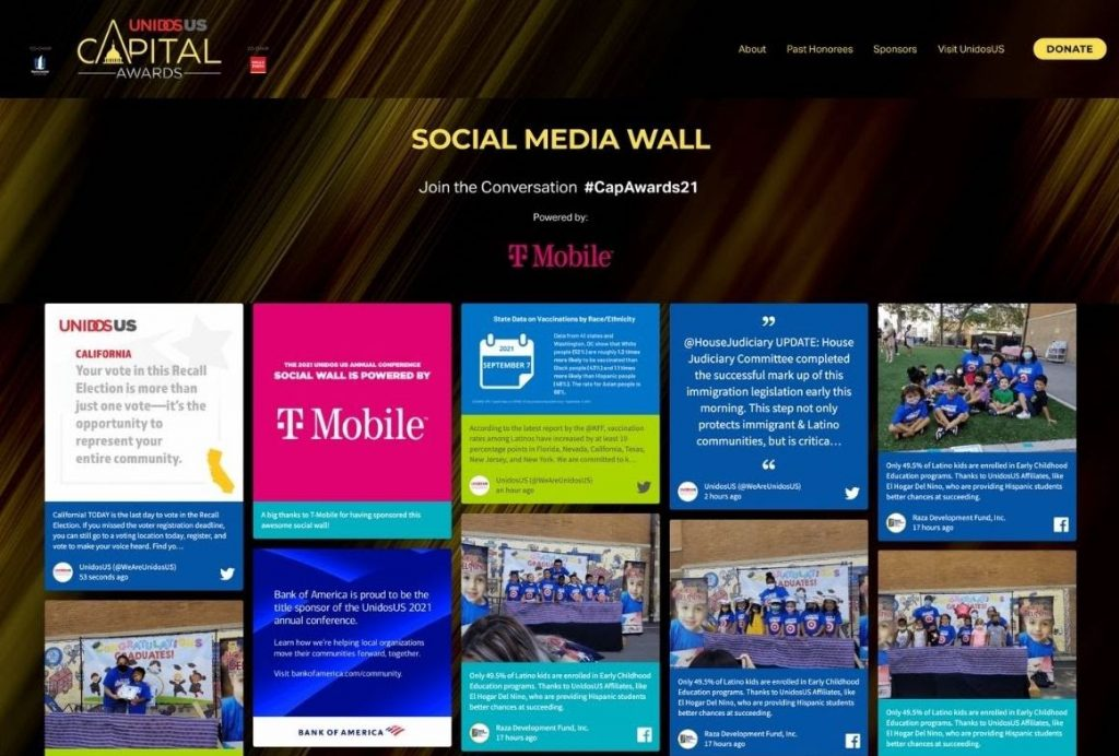 Screenshot of a social wall from UnidosUS Capital Awards. The image shows a sponsored post by T-mobile mixed with UGC. (virtual awards ceremony)