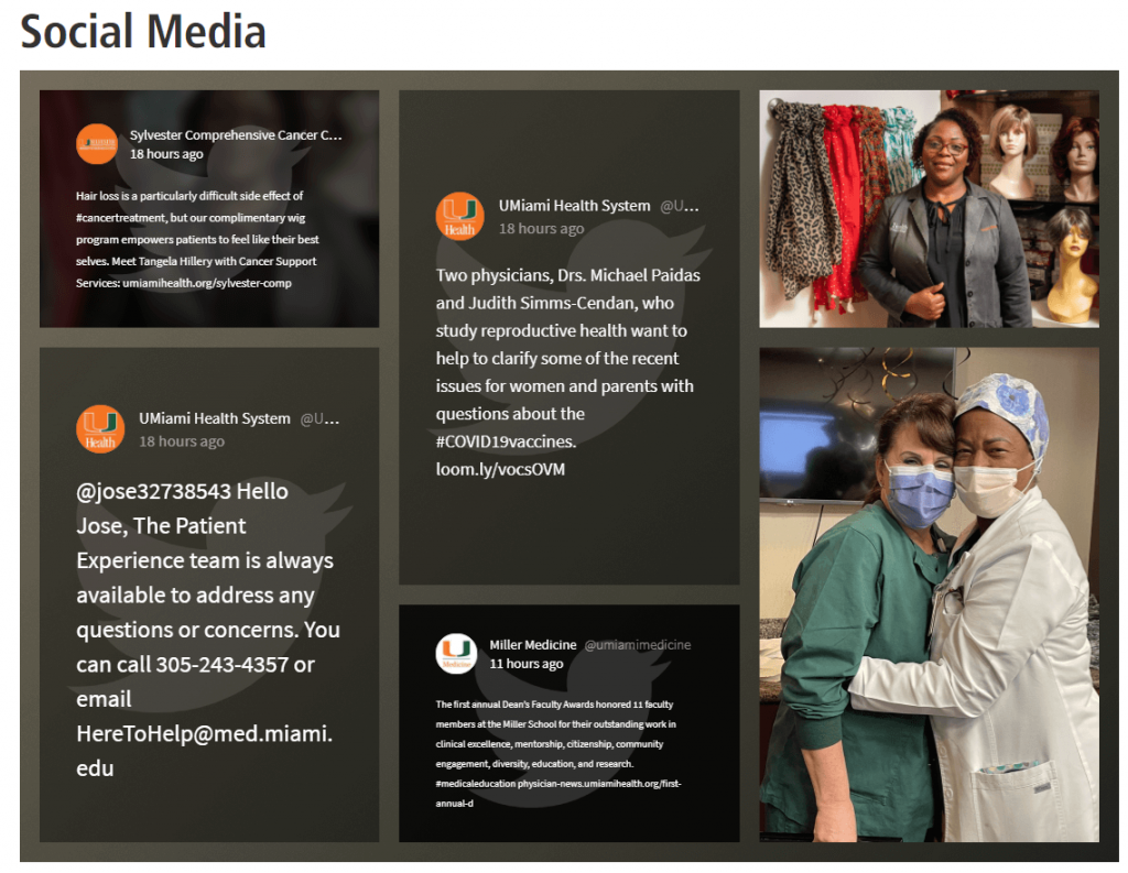 University of Miami Health System embedded social media feed displaying a few Twitter messages.